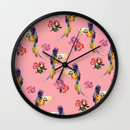 Parrot Print in Coral Wall Clock