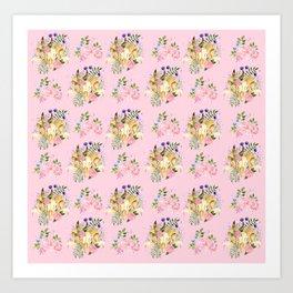 Pink Bohemian Rams Skull Floral Print Art Print