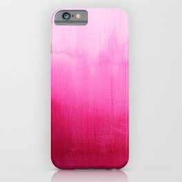 Modern fuchsia watercolor paint brushtrokes iPhone Case