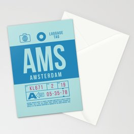 Baggage Tag B - AMS Amsterdam Schiphol Netherlands Stationery Cards