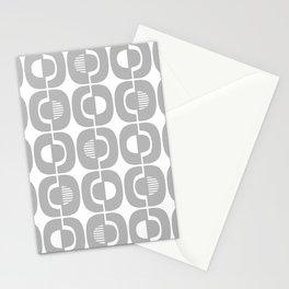 Retro Mid Century Modern Pattern 339 Gray Stationery Cards