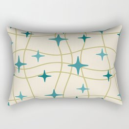 Mid Century Modern Cosmic Star Pattern 693 Cream Turquoise Olive Rectangular Pillow
