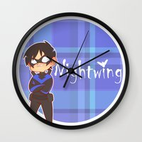 nightwing Wall Clocks featuring Chibi Nightwing by psych0tastic