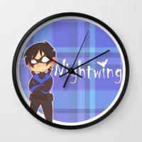 nightwing Wall Clocks featuring Chibi Nightwing by psych0tastic