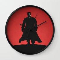 sin city Wall Clocks featuring Sin City by Nick Kemp