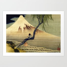 Katsushika Hokusai Boy Viewing Mount Fuji Art Print