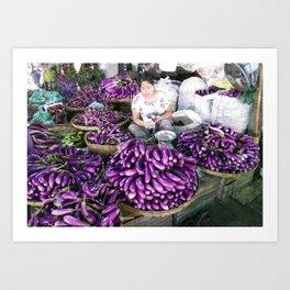 Eggplant Vendor, Myanmar Art Print
