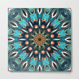 Abstract Turquoise Mandala Metal Print