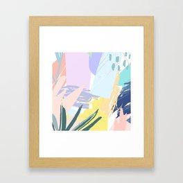 Pastel Collage Palms Framed Art Print
