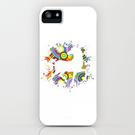 Colorful Horsing Shirt For Horse Lovers With Silhouette Of A Horse T-shirt Design Horseshoe Riding iPhone Case