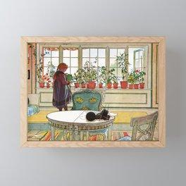 Carl Larsson - Flowers On The Windowsill   Framed Mini Art Print