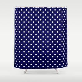 White Blue Navy Polkadot Pattern Shower Curtain