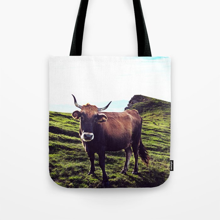 Cow in the Alps, Mountains Tote Bag
