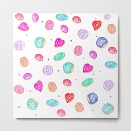 Cute watercolor hand painted donuts foodie pattern Metal Print