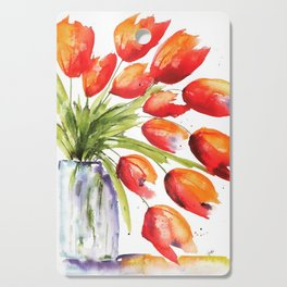 Tulips Overflowing Cutting Board