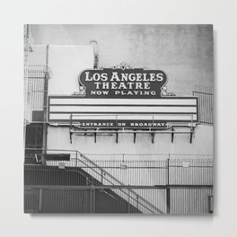 Los Angeles Theatre, Downtown Los Angeles Black and White Photography Metal Print