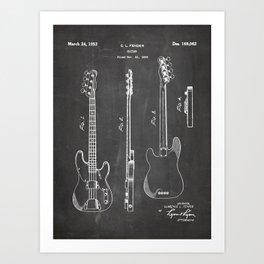 Bass Guitar Patent - Bass Guitarist Art - Black Chalkboard Art Print