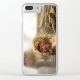 Snow Monkeys on Hot Spring Clear iPhone Case