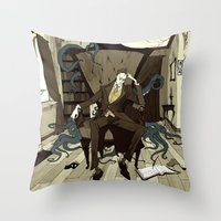 lovecraft Throw Pillows featuring H.P. Lovecraft by Abigail Larson
