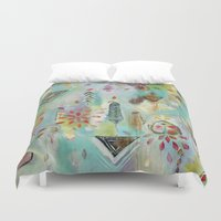 "flora bowley Duvet Covers featuring ""Liminal Rights"" Original Painting by Flora Bowley by Flora Bowley"