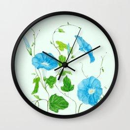blue morning glory Wall Clock