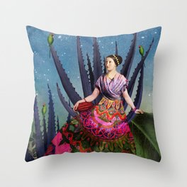 Blue Agave and Cacao Throw Pillow