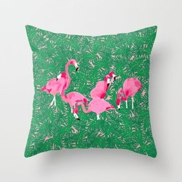 Flamingos on Delicious Monsters Throw Pillow