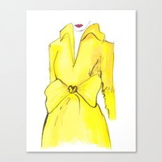 Yellow Coat with Bow | Print from Original Watercolor Painting Canvas Print