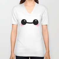 baymax V-neck T-shirts featuring Baymax by icedteafairy