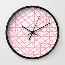 Texture lines pink and white Wall Clock