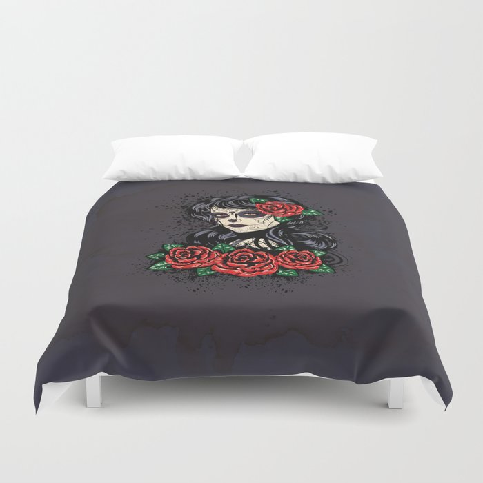 Sugar skull girl Duvet Cover