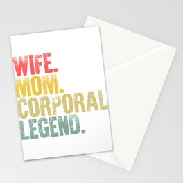 Best Mother Women Funny Gift T Shirt Wife Mom Corporal Legend Stationery Cards