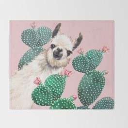 Llama and Cactus Pink Throw Blanket