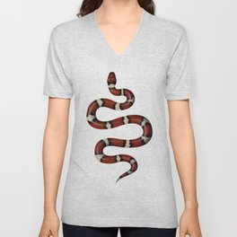 Kundalini red snake on white Unisex V-Neck