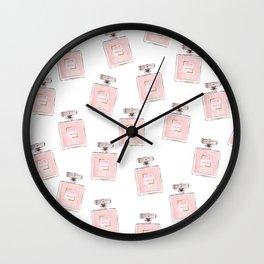 Classic Pink Parfum Pattern Wall Clock