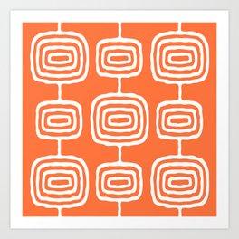 Mid Century Modern Atomic Rings Pattern 771 Orange Art Print