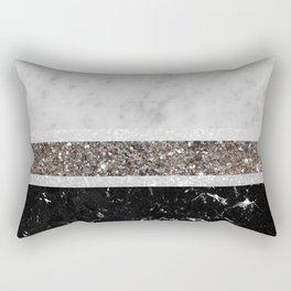 White and Black Marble Silver Glitter Stripe Glam #1 #minimal #decor #art #society6 Rectangular Pillow