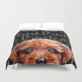 Peek A Boo, Toy poodle, redish brown tone Duvet Cover
