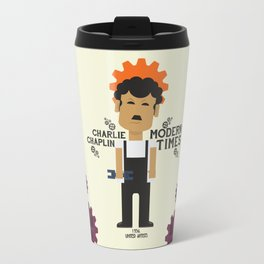 Charlie Chaplin - Modern Times - minimal movie Poster, cartoon version Travel Mug