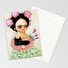 Frida with Black Cat and Tulips painting by Tascha Stationery Cards