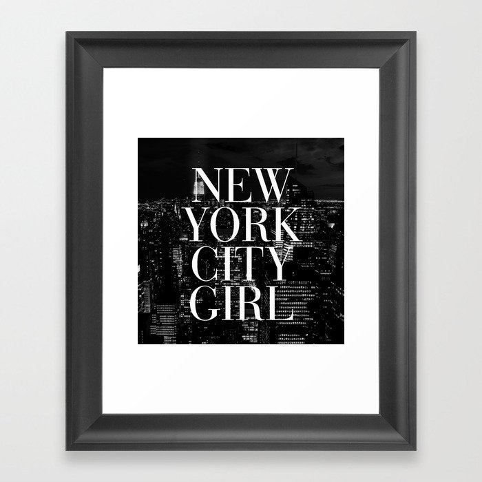 New York City Black White Skyline Vogue Typography Framed Art Print