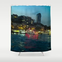 The night lights. Shower Curtain