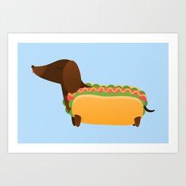 Wiener Dog in a Bun Art Print