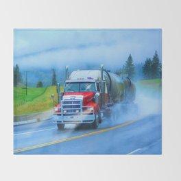 Driving Rain IV - Highway Truck in Rainstorm Artwork Throw Blanket