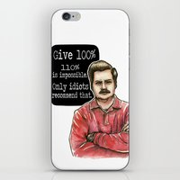 ron swanson iPhone & iPod Skins featuring Ron Swanson by Tiffany Willis