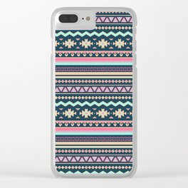 Colorful Aztec Tribal Pattern Clear iPhone Case