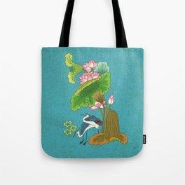 Minhwa: Lotus and Night Herons G Type (Korean traditional/folk art) Tote Bag