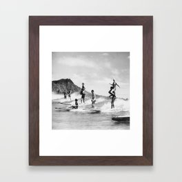 Vintage Hawaii Tandem Surfing Framed Art Print