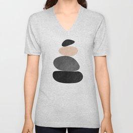 Geometric Art, Zen Balance, Pink, Gray and Black, Abstract Art Unisex V-Neck