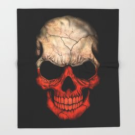 Dark Skull with Flag of Poland Throw Blanket